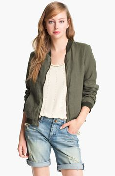 Olivia Moon Linen Bomber Jacket available at #Nordstrom