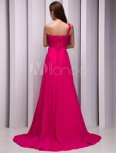 Robe soutenue demoiselle d'honneur A-ligne à une épaule en chiffon avec strass traîne courte - Milanoo.com