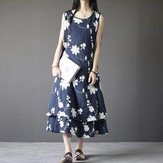 Blue linen flower fitting pullovers dress