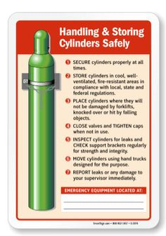Post on compressed gas cylinder handling and storage by MEMIC's Alexis Westin: http://memicsafety.typepad.com/memic_safety_blog/2015/10/compressed-gas-cylinder-handling.html