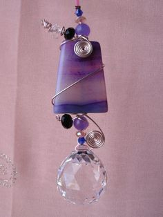 Feng shui crystal prism suncatcher with Healing Agate, window ornament, garden art, free shipping