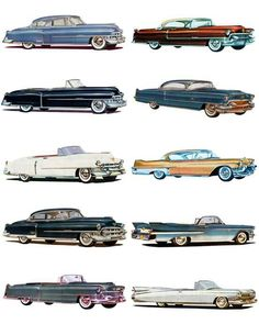 1950 to Cadillacs, all ten years Rolls Royce, Retro Cars, Vintage Cars, Bugatti, Cadillac, American Classic Cars, Car Advertising, Buick, Old Cars