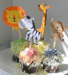 Safari, Zoo, Jungle Birthday Party Cupcake Toppers, set of 24 Animal Decorations, die cuts