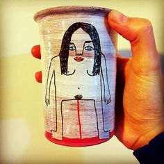 My friend wanted a cup for when she is on her period so I made her this! #ceramics #pottery #nzmade #studiosoph #bloody