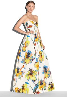 $1,100, White Floral Evening Dress: Milly Pop Art Floral Print Ava Strapless Gown. Sold by Milly. Click for more info: https://lookastic.com/women/shop_items/144348/redirect
