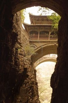 Temple,bridge and canyon  China