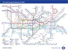 Future map based on the Transport for London Business Plan for 2020 London Underground Tube Map, London Tube Map, London Map, London Travel, London Poster, Travel Europe, London Transport, Public Transport, Transport Map