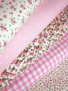 FABRIC BUNDLE PINK FAT QUARTERS POLYCOTTON *48HR DISPATCH* CRAFT BUNTING | eBay