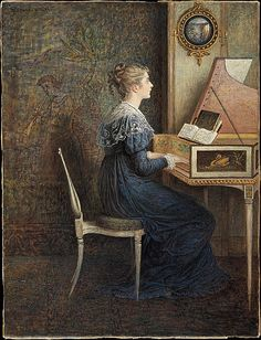 'An Old Song' (1874) by William J. Hennessy. Watercolor, gum arabic, and gouache on paper. 14-11/16 x 11-1/8 inches (37.3 x 28.3 centimeters). Inscription: Upper left, JH[monogram]ennesy. 1874. Location: The Metropolitan Museum of Art (MMA), New York City, NY. Note: This artwork is on file but not on display. // Found by @RandomMagicTour - Sasha Soren
