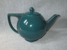 Hall China Turquoise Star Teapot - Solid Color, No Gold, Circa 1939