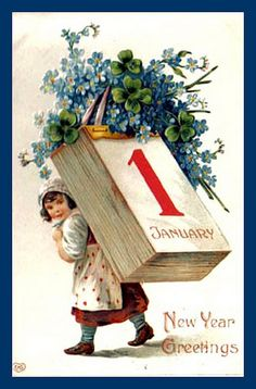 Girl-Calendar-New-Year-Vintage-Postcard