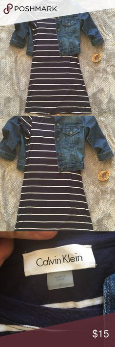 Calvin Klein size 4 t-shirt dress Softest most comfortable t-shirt dress I have ever felt in my life. Size 4 navy and white striped. Looks amazing with a denim jacket and sandals or just some sneakers! Calvin Klein Dresses
