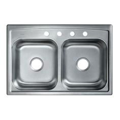 KOHLER Toccata Self-Rimming/Drop-in Stainless Steel 33 in. 4-Hole Double Bowl Kitchen Sink-K-RH3346-4-NA - The Home Depot