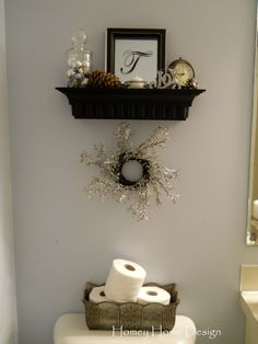 Cute for the half bath...maybe add some bead board on there. :)