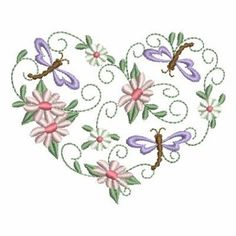 Ace Points Embroidery Design: Floral Heart 3.09 inches H x 3.83 inches W