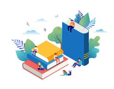 Book festival concept of a small people reading a open huge book. Vector illustration, poster and banner images vector royalty free image vector Flat Design Illustration, Character Illustration, Illustration Art, Globe Logo, Background Design Vector, Book Festival, Isometric Design, Classic Books, Concept