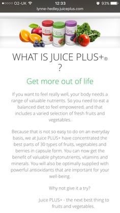 Q. What is juice plus? A. Fuel for life! Www.facebook.com/toniawilliams.71404