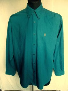 Vintage Polo Ralph Lauren Mens Green Long Sleeved Shirt Size L Large Made in USA Used Condition