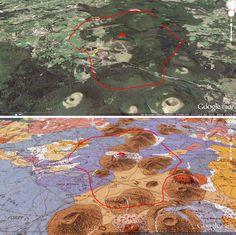 Vue 3D sans et avec carte géologique du secteur du Puy Chopine et de son…