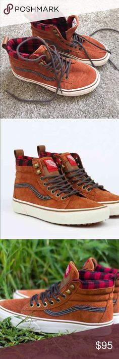 Vans SK8 Hi MTE sneakers size 6 Vans SK8 HI MTE high top sneakers in Glazed Ginger. Size 4.5 men's/6 in women's. Excellent condition, only worn 2x. Sold out in this size! Premium Scotchgard treated uppers, warm linings, and a heat retention layer between sockliner and outsole keep feet warm and dry, vulcanized lug outsole is great for maximum traction. Features re-enforced toecaps to withstand repeated wear, signature waffle rubber outsoles, and padded collar and heel counters for support…
