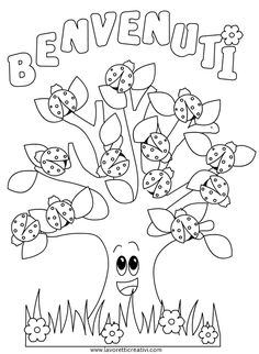 Cartellone Benvenuti con albero e coccinelle First Day School, Pre School, Opening Day, Coloring Book Pages, Preschool Activities, Ladybug, Diy And Crafts, Hair Color, Ash Hair