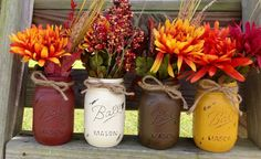Fall Painted Mason Jars. Pint Size Painted and by Kateslittleshop