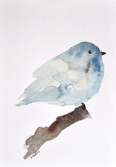ORIGINAL Watercolor painting  Gray blue bird / by ArtCornerShop, $32.00