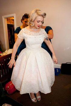 "theovarianbarbarian:  a-harlots-progress:  Amazing dress + make-up & hair ""A Vintage Rockabilly Wedding: Molly & Sam""  Oh God. This dress is so lovely.  WOW!"