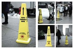 """Air Canada """"People Working Above"""" caution cones guerrilla marketing Guerilla Marketing, Email Marketing Strategy, Street Marketing, Clever Advertising, Advertising Campaign, Marketing And Advertising, Toronto, Canada Funny, Montreal Ville"""