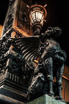 日本橋 麒麟像 , Japanese gargoyle, Nihonbashi, Tokyo, Japan