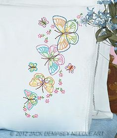 Fluttering Butterflies Lace Edge Pillowcases, contains: 1 pair of standard size pillowcases with lace edge