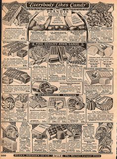 Vintage ads for candy from 1925 Sears, Roebuck catalog, posted on Flickr by HA! Designs - Artbyheather