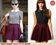 Taylor Swift Fashion  Burgundy box pleat skirt Peter Pan Collar Top e1b7c3ad9