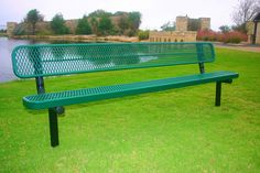 """Rectangular Bench with Back - Expanded Metal- MyTCoat's Rectangular - Expanded Metal bench features:  3/4″ 9 Expanded Metal Diamond Pattern 3/4″ x 2″ Angle Iron Outer Frame 1-1/2"""" x ¼"""" Flat Steel Inside bracing 2-3/8″ Round Tubing Frame Material 2″ x 2″ Angle Iron Frame Bracing Different mounting options: portable, surface, and in-ground Comes in 6', 8', 10' (2 - 5' sections), or 15' (2 - 7.5' sections) 1″ Round Tubing Diagonal Braces for Portable Benches"""