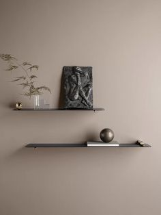 """Danish brand Ferm Living has collaborated with Chinese furniture designer Mario Tsai to create a series of """"flying"""" shelves, which seem to be mounted without the use of any fixtures. After meeting. Thin Shelves, Wood Shelves, Floating Shelves, Wall Shelves Design, Wall Mounted Shelves, Shelf Wall, Modern Bookcase, Messing, Scandinavian Design"""