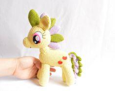 Applejack, My Little Pony, Plush dolls, Crochet dolls, Stuffed animals, Unicorn dolls, Knitting dolls, Amigurumi, Princess Celestia, Rainbow