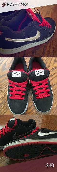 NIKE NYX SKATE SHOES! These shoes have been worn a handful of times and the lace have been tucked under the sole. They are silver, red, and black and are youth sized. Nike Shoes Athletic Shoes
