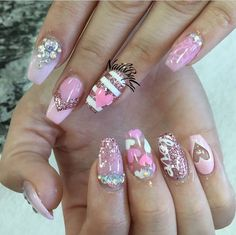 Valentine's Day Acrylic Nail Art Designs & Ideas 2017 Nail Art Saint-valentin, Acrylic Nail Art, Acrylic Nail Designs, Gorgeous Nails, Love Nails, Pink Nails, Gel Nails, Nail Polish, Liquid Nails