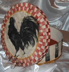 Painted Cheese Boxes | Hand Painted Rooster Wooden Cheese Box by TheLeahJaneOriginals