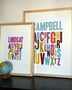 I want to have an alphabet themed room...  kids bathroom?  pedra's bedroom?  or playroom?  I must have these prints in my alphabet themed room!
