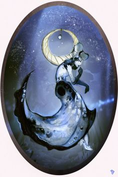 Disney Princesses stylized as different elemental spirits. Click through for all of them; they are GORGEOUS. This one is Cinderella as Moon spirit.