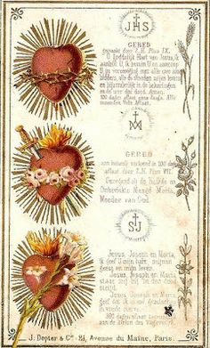 Catholic Conclave: Devotion to the Three Hearts of Jesus, Mary and Jo... Religious Pictures, Religious Icons, Religious Art, Catholic Prayers, Catholic Art, Roman Catholic, Jesus Mary And Joseph, St Joseph, Sacred Heart Tattoos