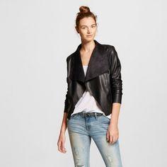 Women's Faux Suede and Faux Leather Drape Jacket Black - Bagatelle City : Target