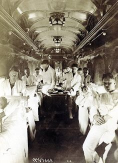 Interior of hospital train, transport of wounded, 1918