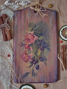 Двор-декор. Рукоделие и творчество: МК по созданию декоративной досочки «Розы и вишня»