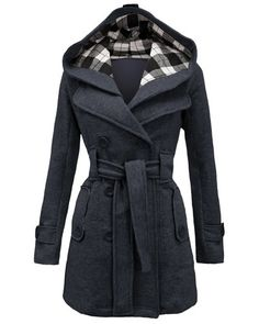 Stylish Women's Hooded Double-Breasted Long Sleeve Worsted Coat 17.99