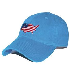 USA Map Needlepoint Hat in Royal by Smathers & Branson