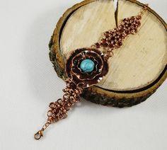 Copper bracelet flower blue copper bracelet by SzkatulkaAmiJewelry #SzkatulkaAmiJewelry #copperbracelet #turquoisebracelet