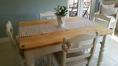 Shabby chic farmhouse pine table and 4 ladderback chairs in Laura Ashley White Shabby Chic Farmhouse, Shabby Chic Kitchen, Farmhouse Table, Ashley White, Laura Ashley, Shabby Chic Table And Chairs, Shabby Chic Furniture, Ladder Back Chairs, Pine Table