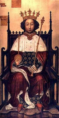 King Richard II:  King of England from 1377, effectively from 1389, son of Edward the Black Prince. He reigned in conflict with Parliament; they executed some of his associates in 1388, and he executed some of the opposing barons in 1397, whereupon he made himself absolute. Two years later, forced to abdicate in favour of Henry IV, he was jailed and died.